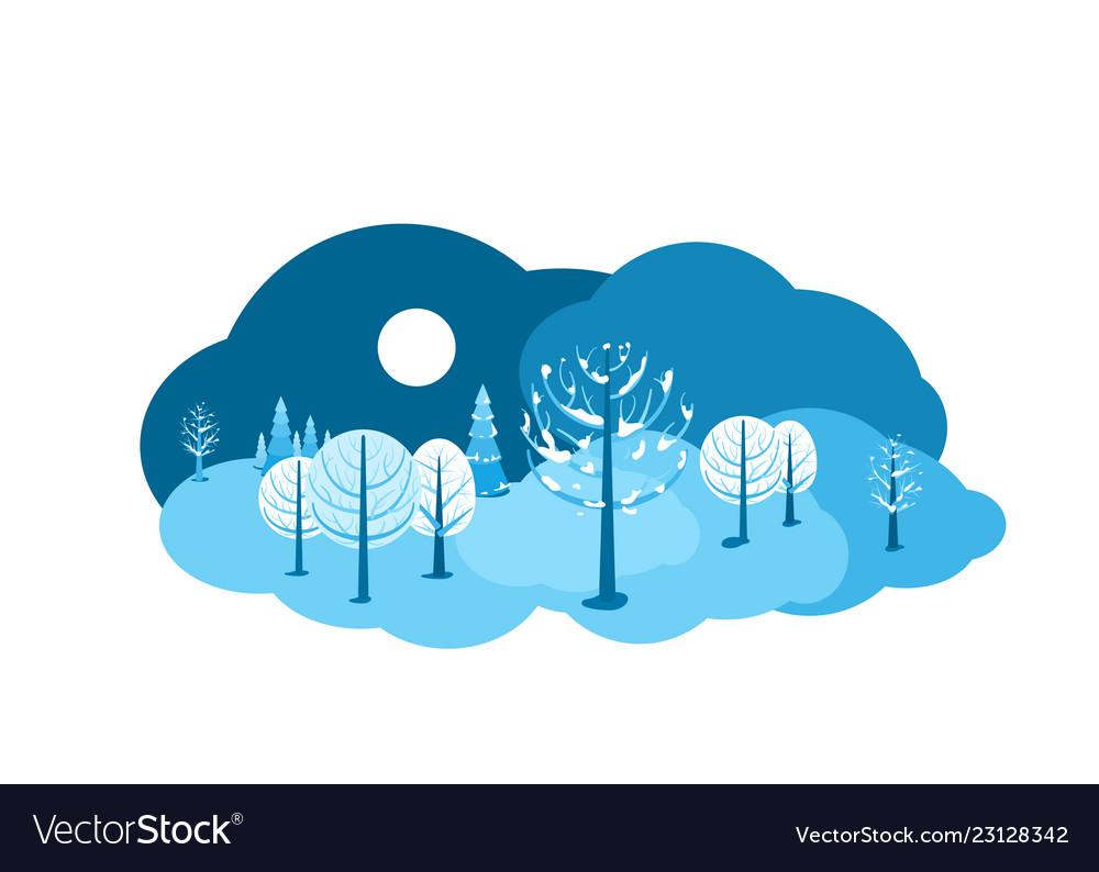 Winter landscape background horizontal cartoon