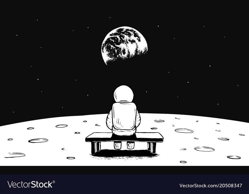 Astronaut sits on moon and watches to earth