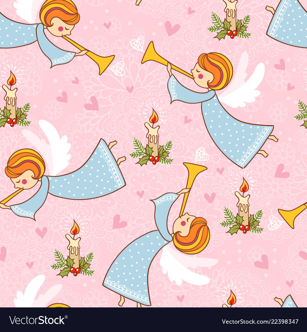 Christmas seamless pattern with angels playing the