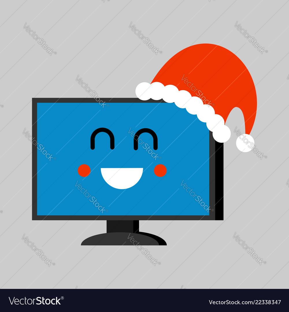 Computer santa claus emoji merry pc red santa hat vector image.