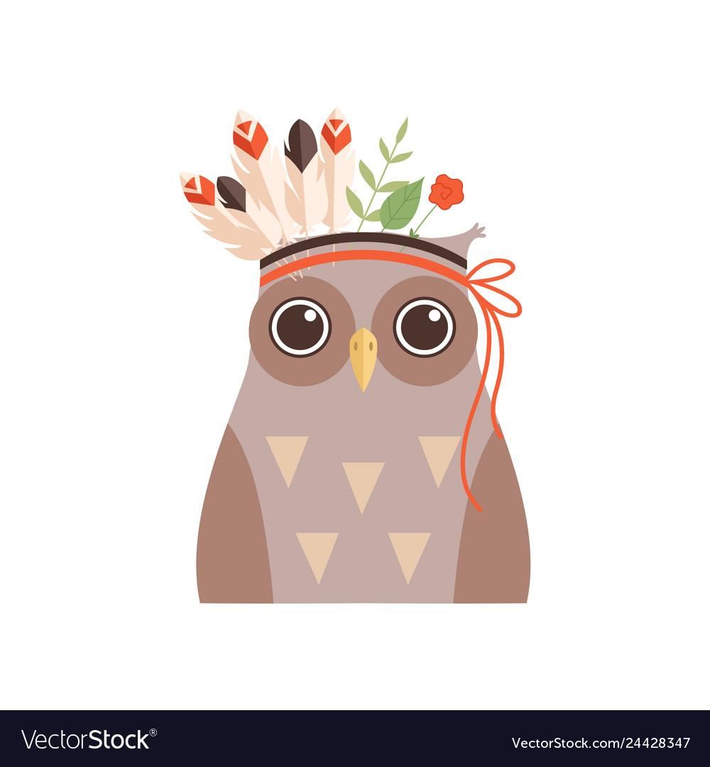 Cute owl bird wearing headdress with feathers