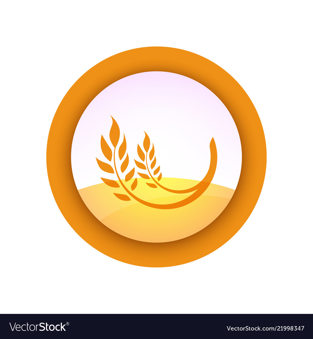 Farm emblem with ear of wheat on field background