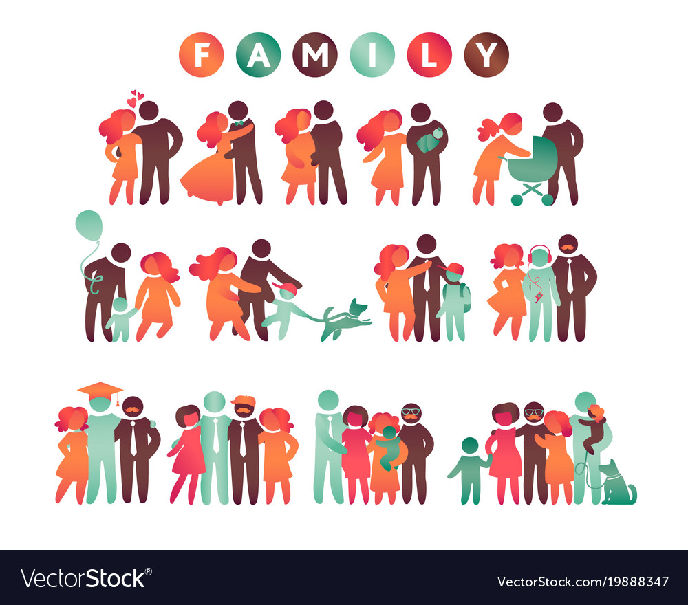 Happy family icon multicolored set in simple