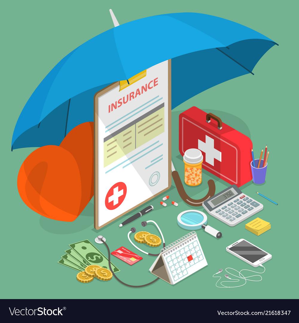 Health insurance flat isometric concept