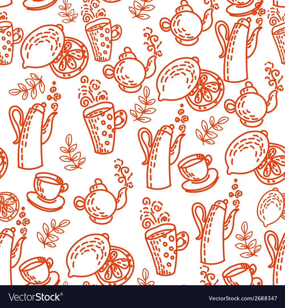 Red Seamless Pattern with Tea Cups