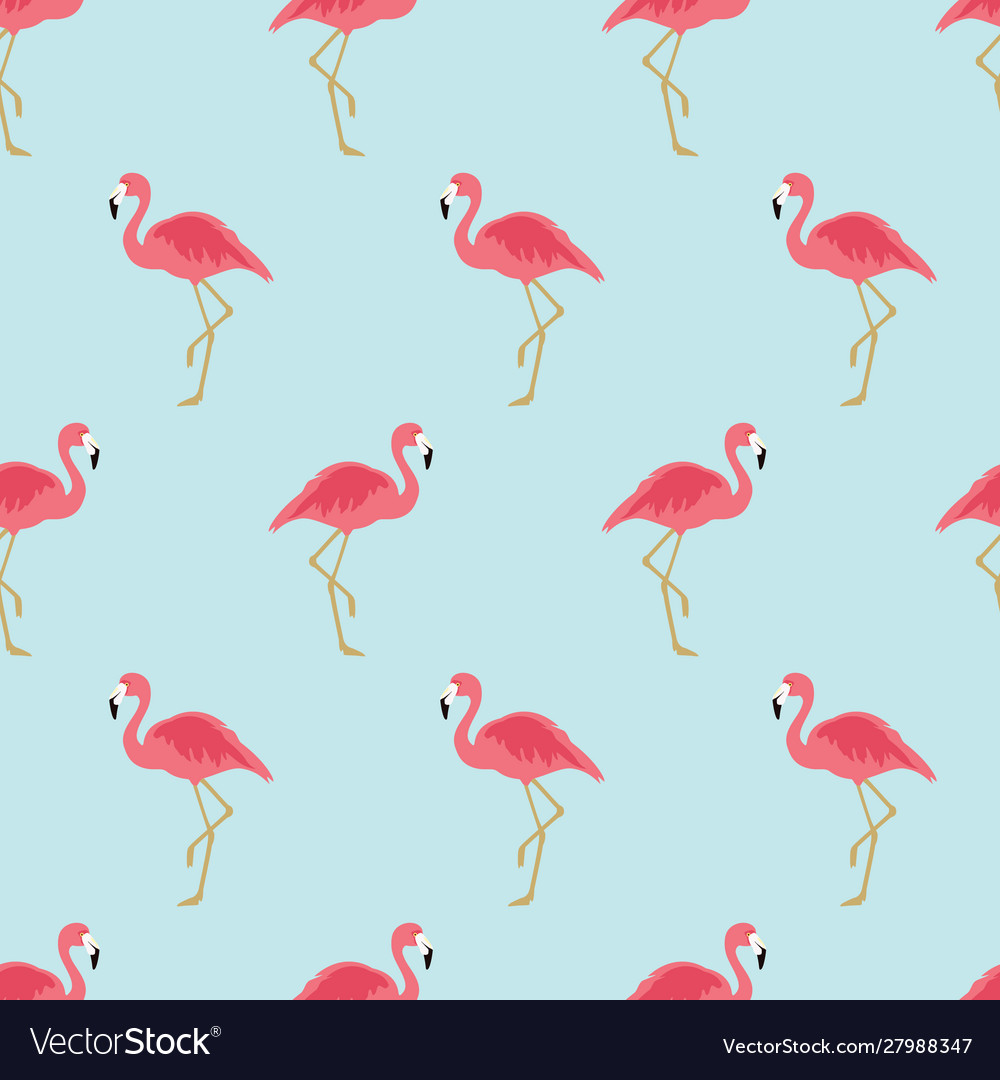 Seamless pattern with pink flamingo exotic bird