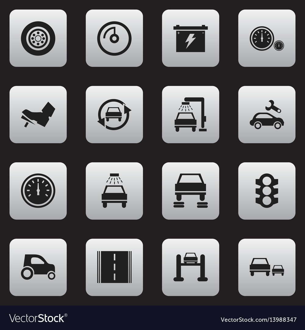 Set of 16 editable transport icons includes