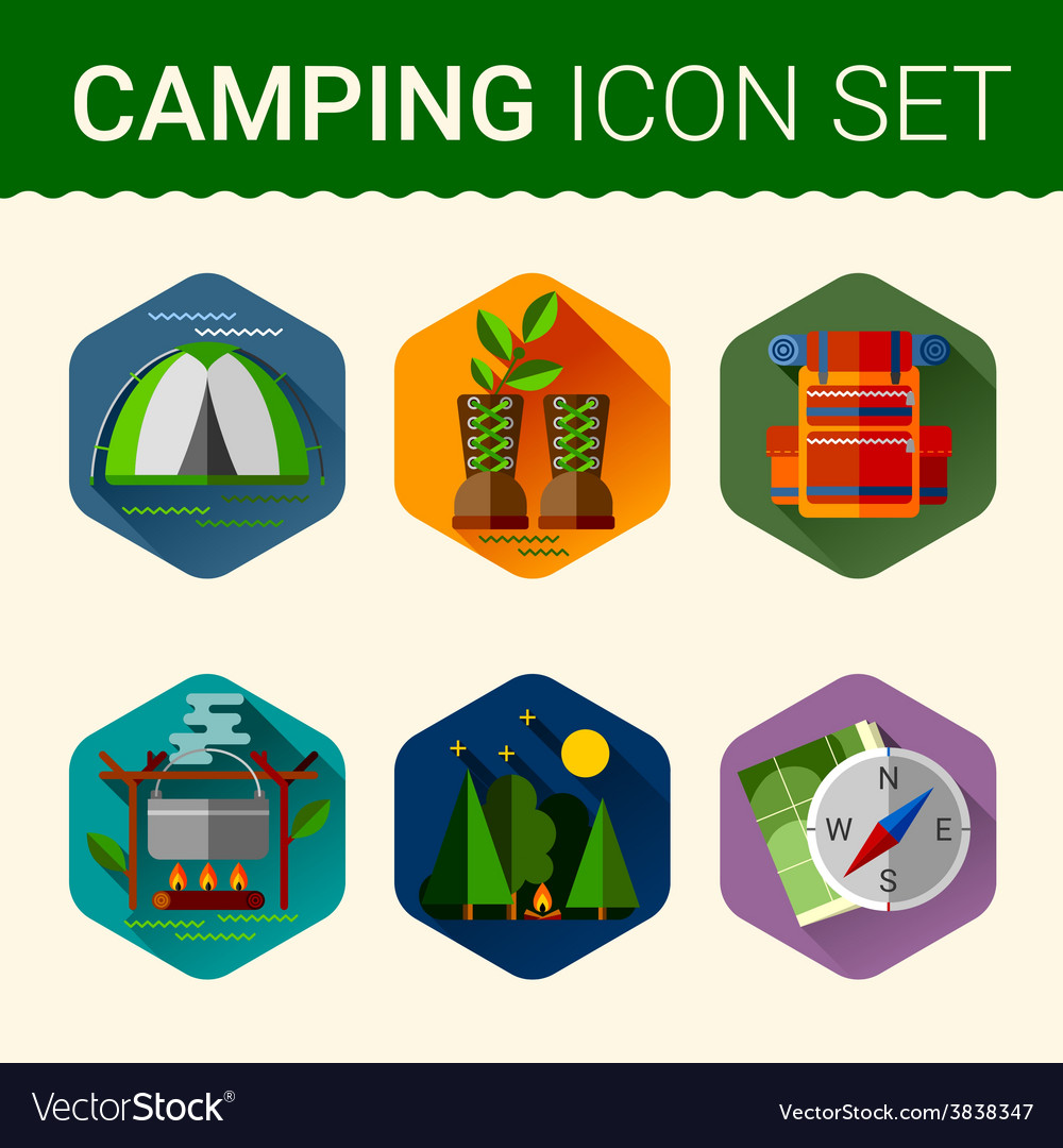 Set of cute various camping icons vector image