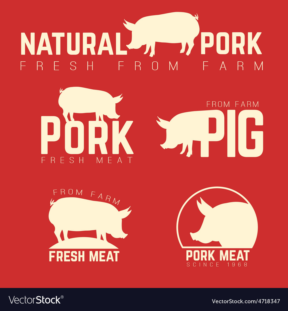 Set of pork emblems logotypes and labels isolated