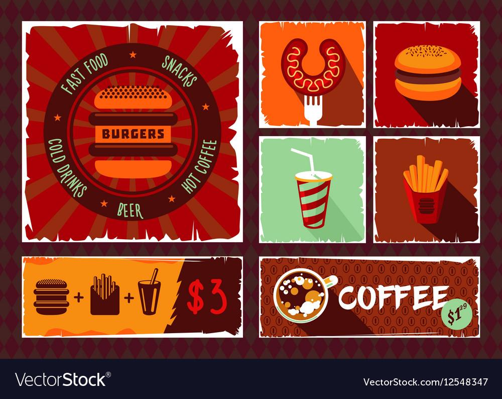 Vintage fast food banner set