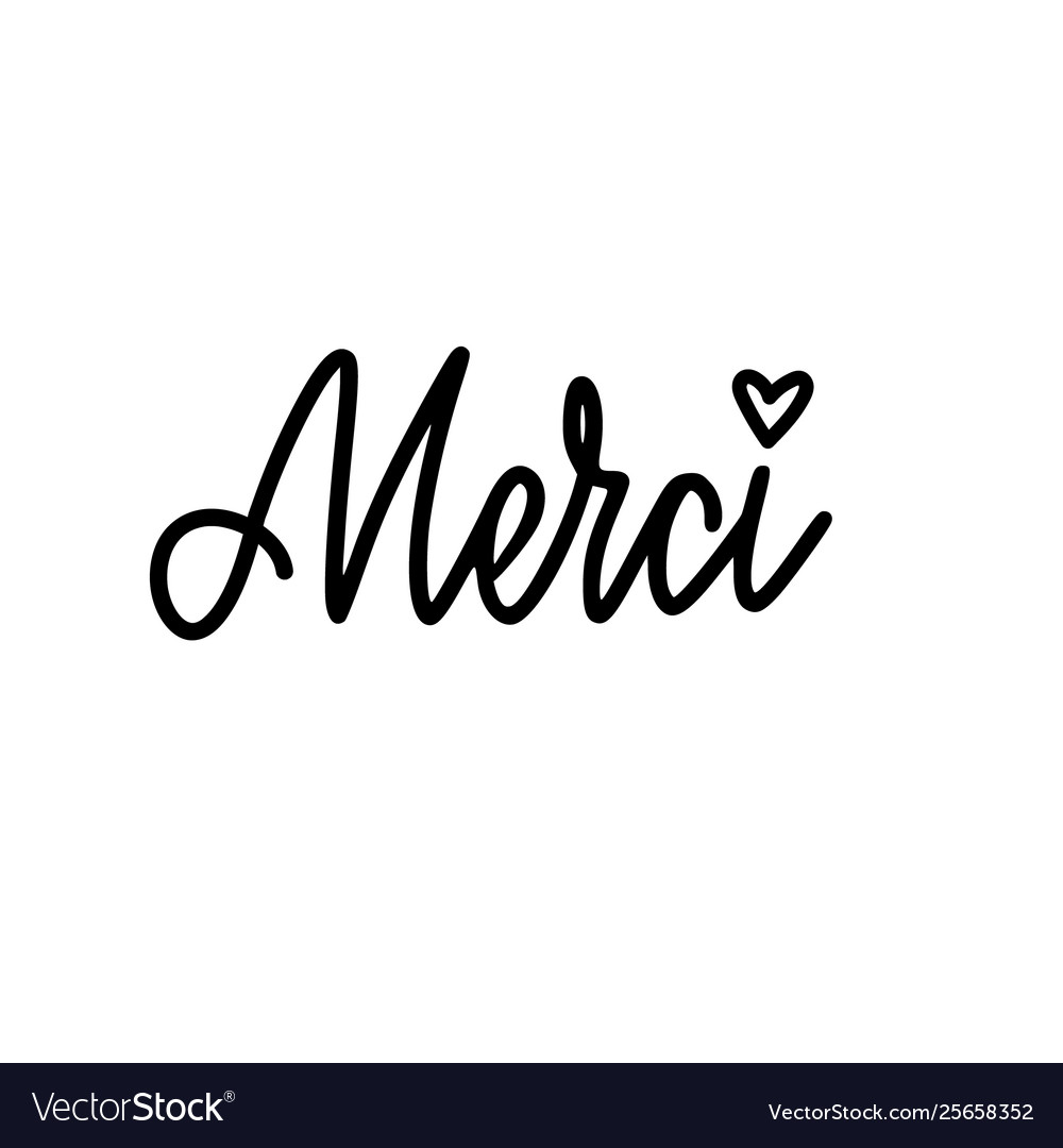 Calligraphy Design Thank You In French Royalty Free Vector