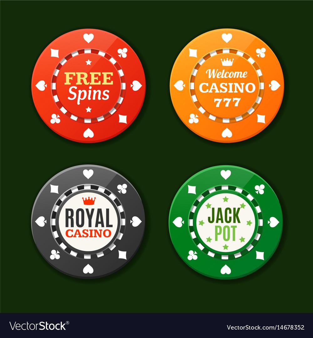 Casino chips sign set
