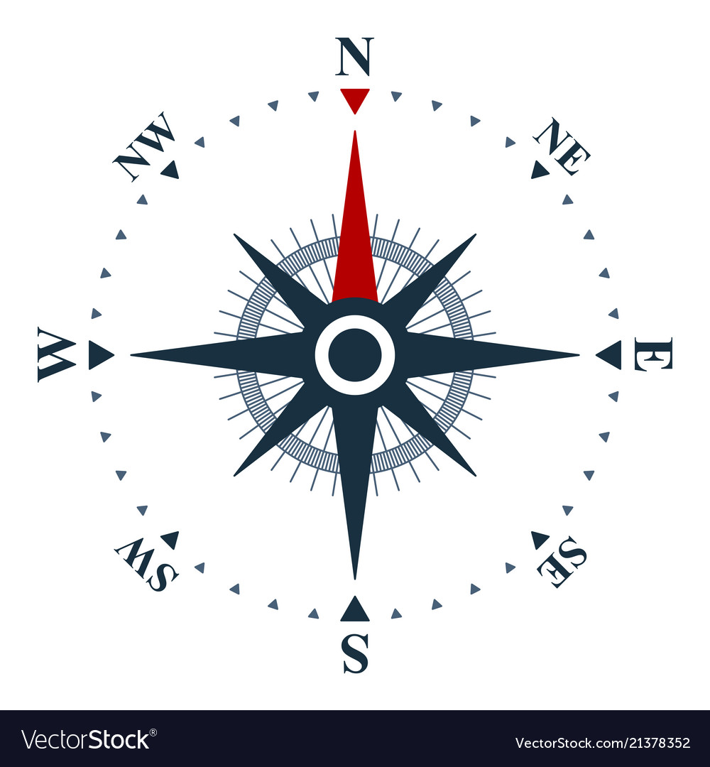 Compass Rose Icon Wind Rose And Navigation Symbol Vector Image