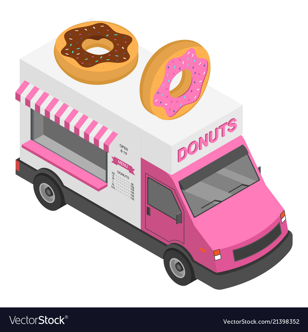 Donuts truck icon isometric style