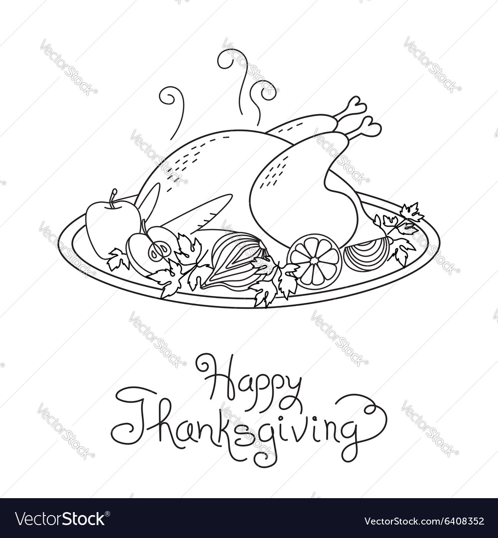 Doodle Thanksgiving Turkey Meal Freehand