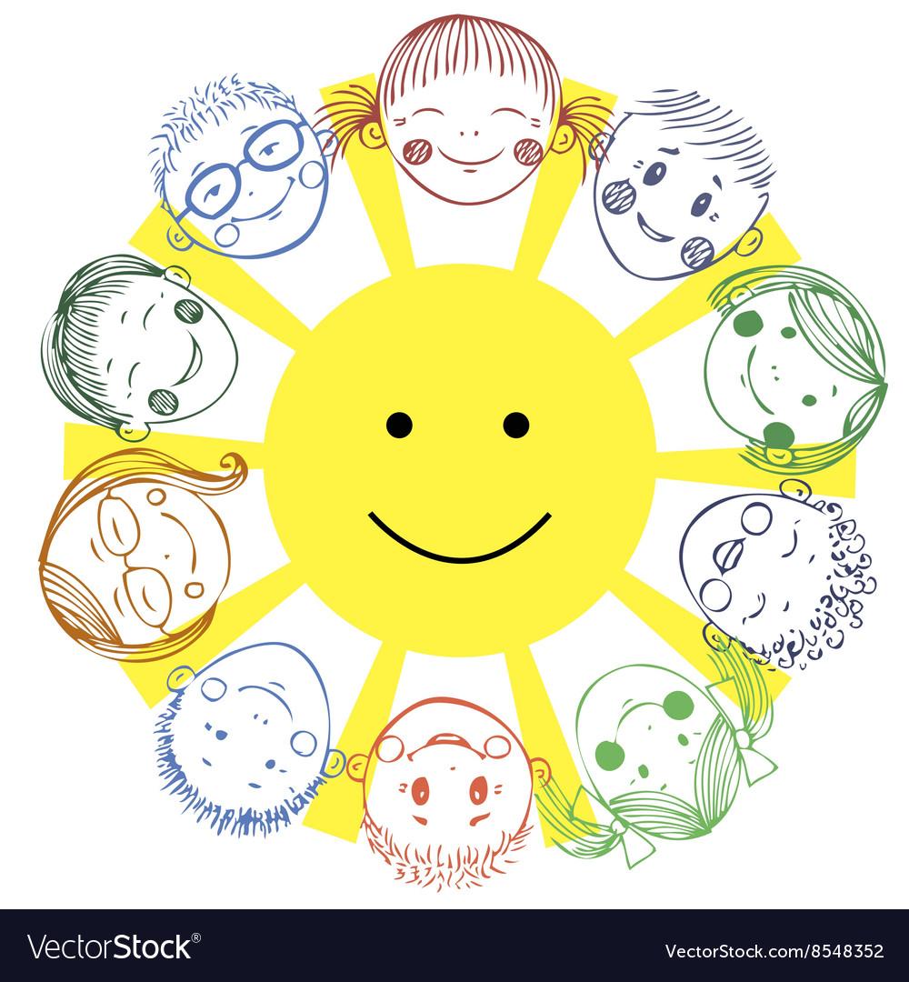Group kids with sun