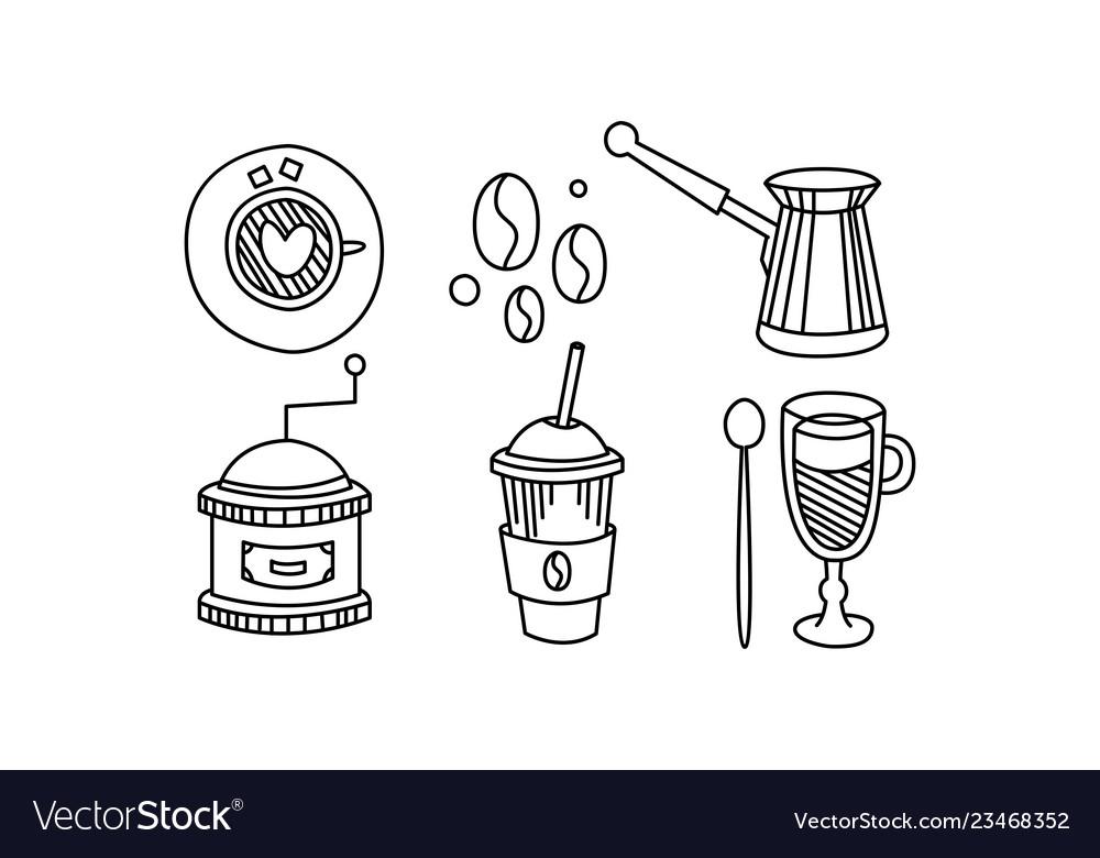 Hand drawn kitchen utensils coffee themed