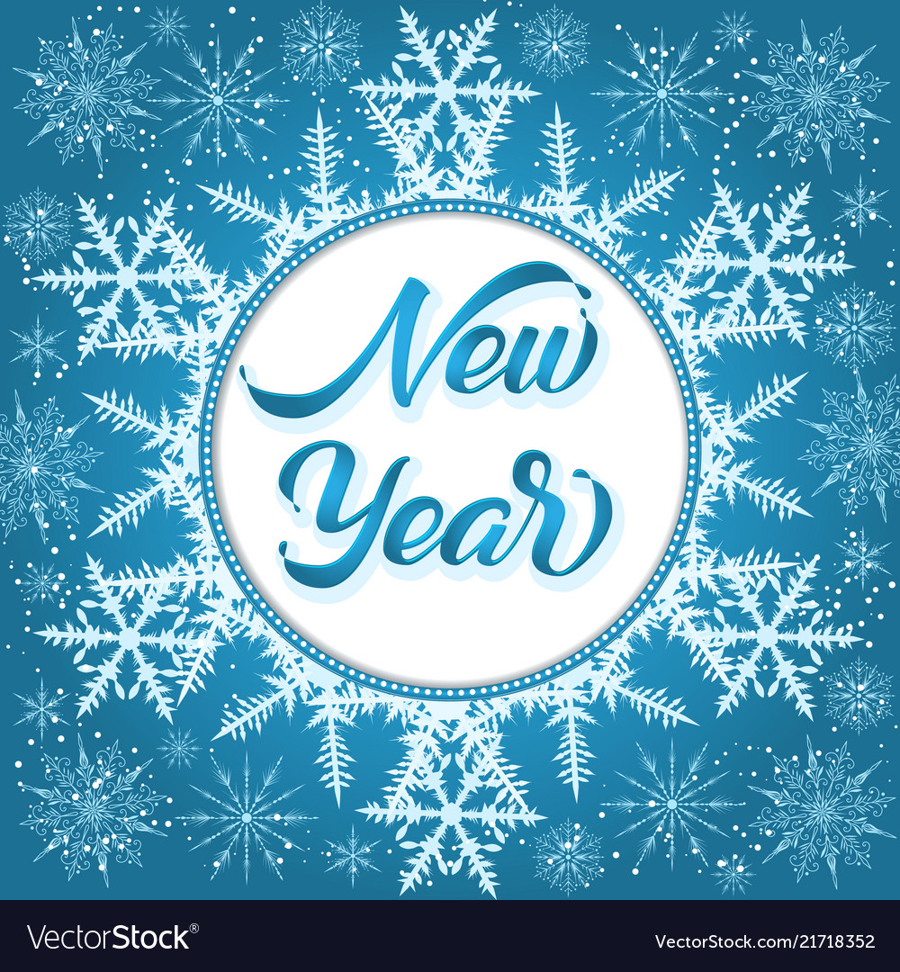 happy new year gift card elegant handwritten vector image
