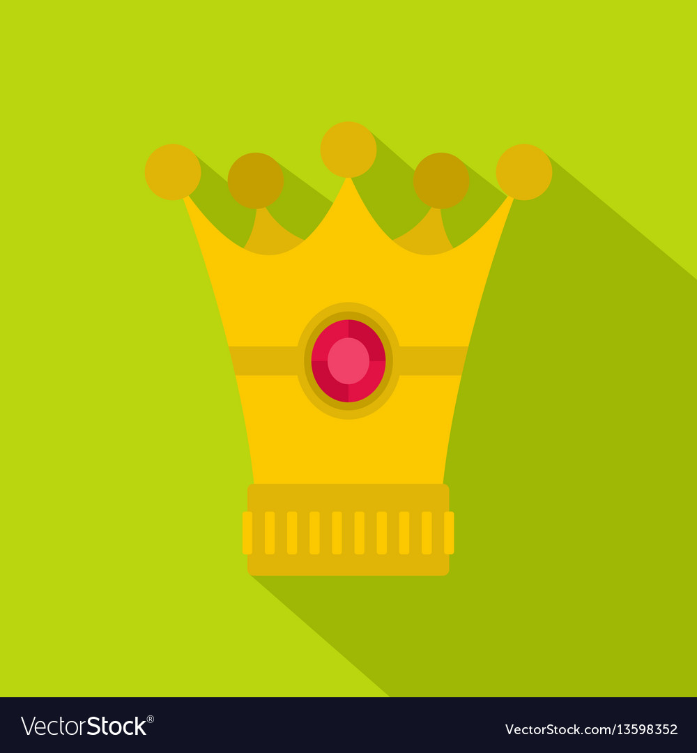 Medieval crown icon flat style