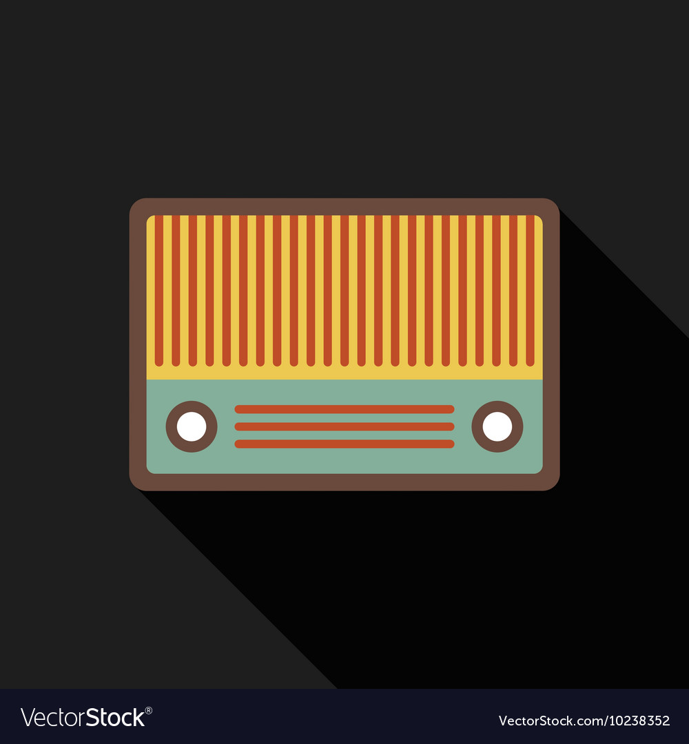 Retro vintage radio flat design isolated icon