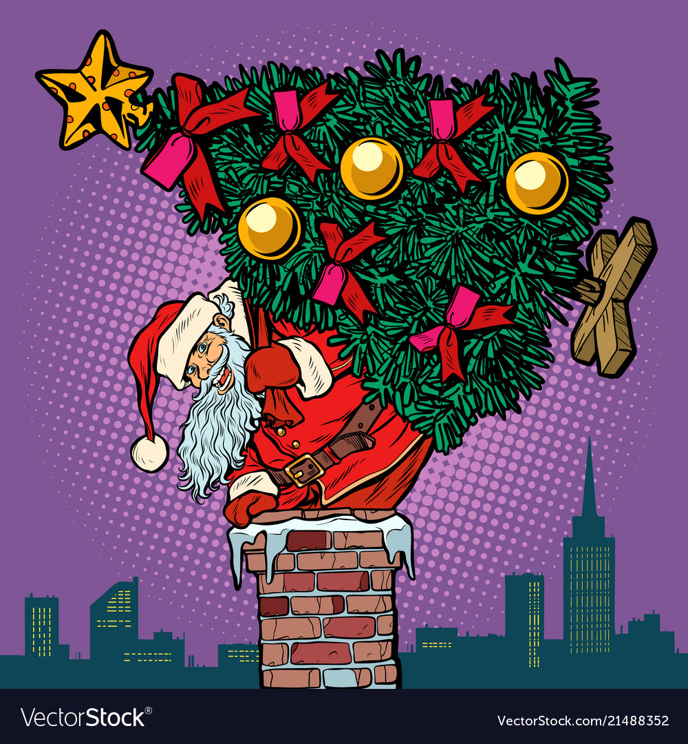 Santa claus with a christmas tree climbs the