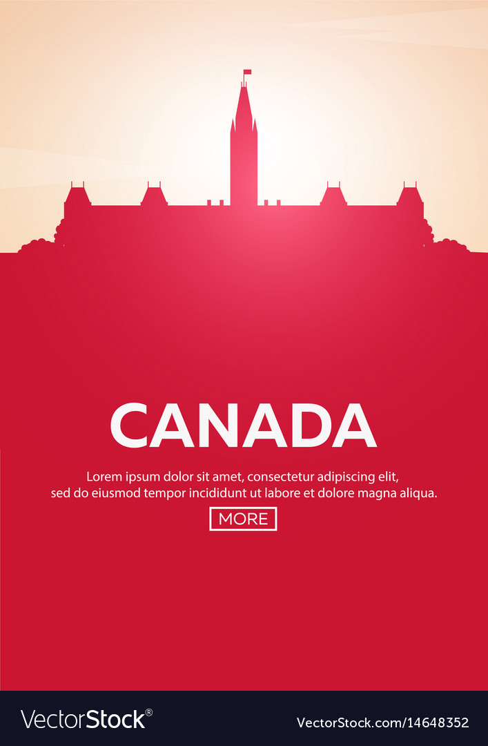 Travel poster to canada landmarks silhouettes