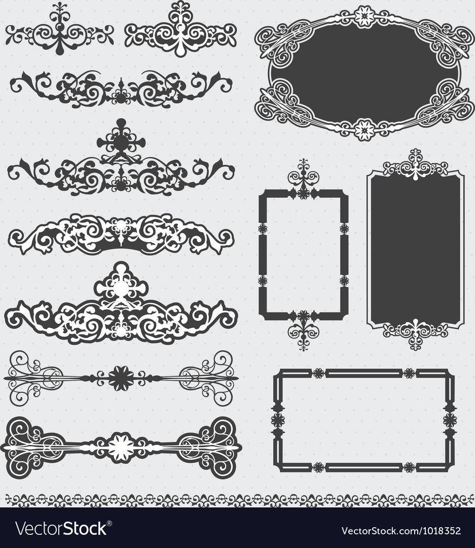 Vintage decorative scroll and background set