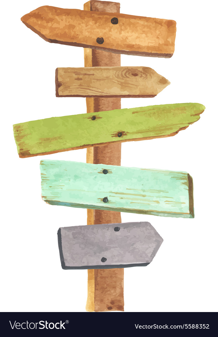 watercolor wooden signpost royalty free vector image