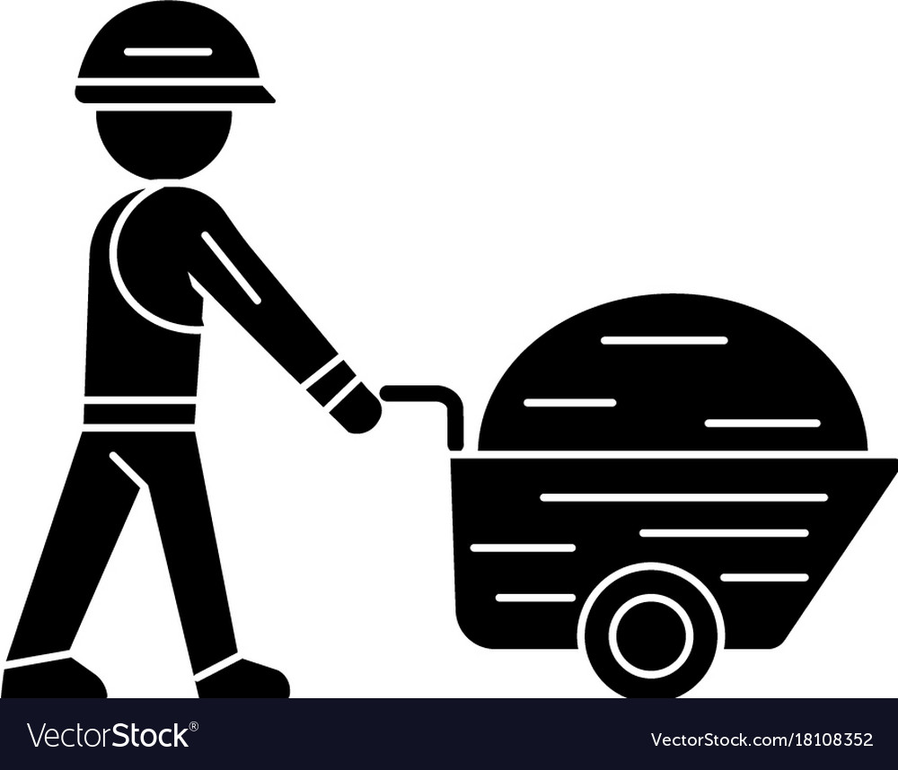 Worker builder with wheelbarrow icon