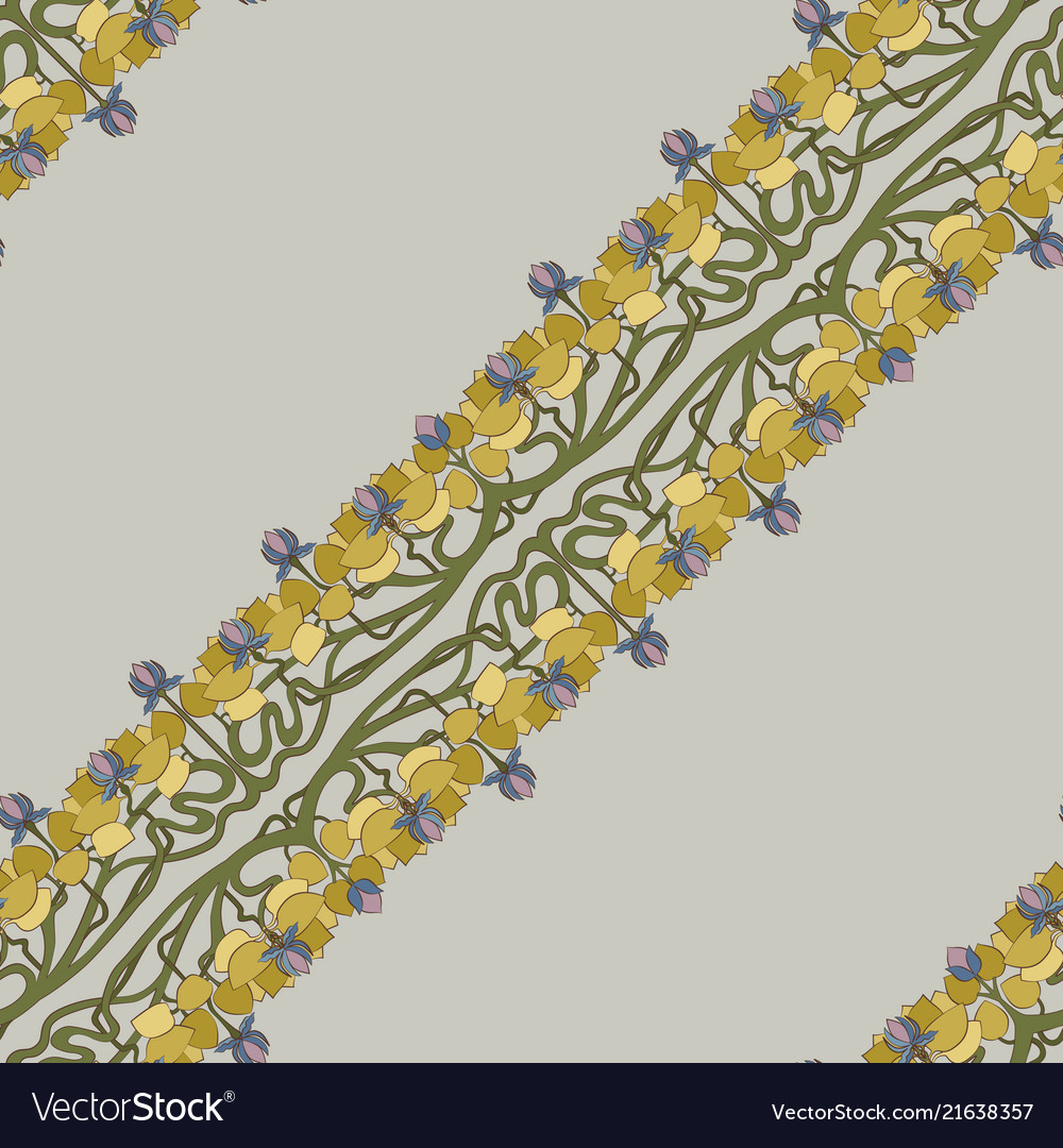 Art deco floral seamless pattern on grey