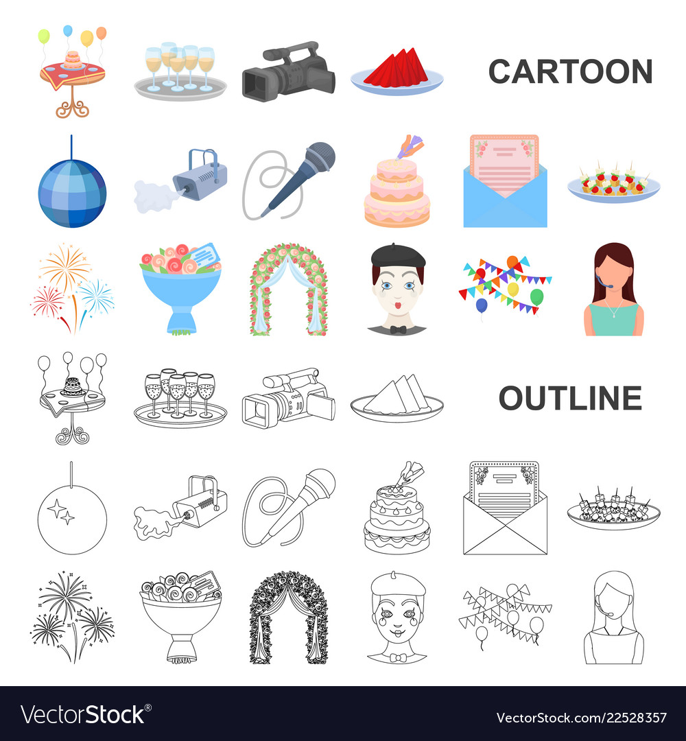 Event organisation cartoon icons in set collection