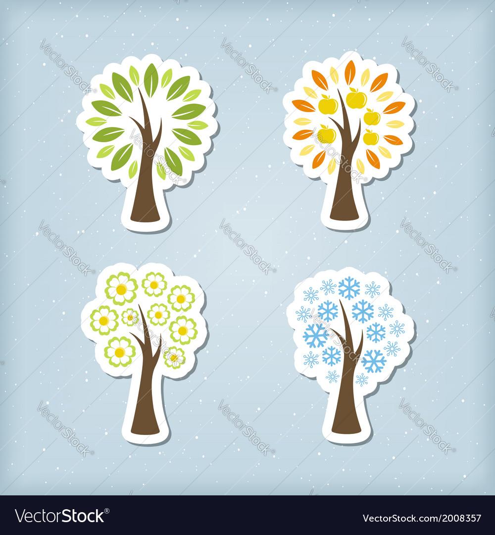 Four season tree icons vector image
