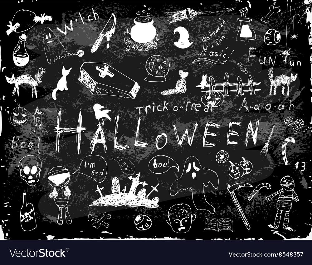 Halloween set of simple doodles