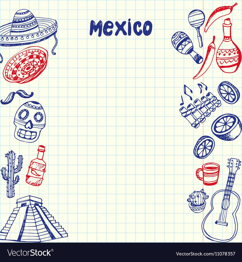 Mexico Symbols Pen Drawn Doodles Collection