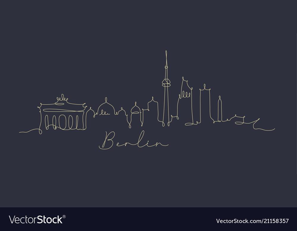 Pen line silhouette berlin dark blue