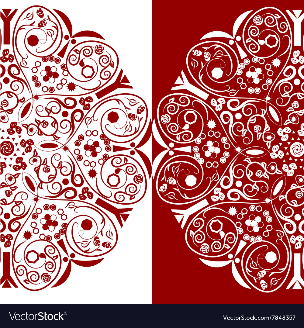 Red and white ornamental floral round lace