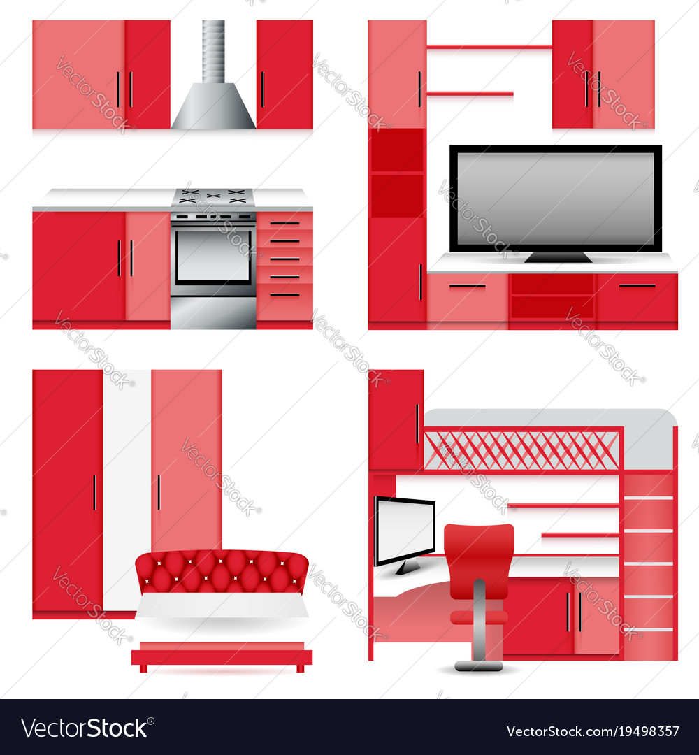 Red furniture icons set