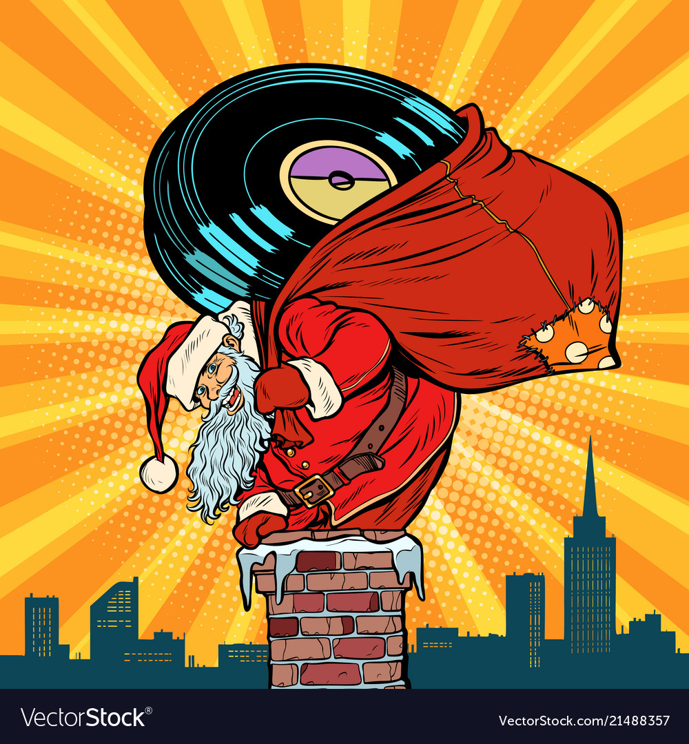 Santa claus with vinyl records climbs into the