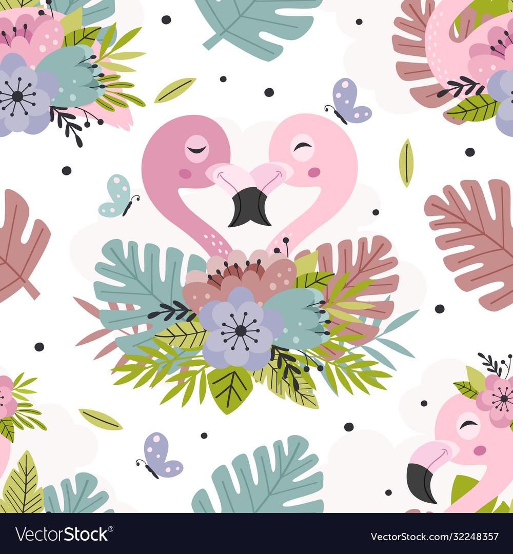 Seamless pattern with beautiful pink flamingo