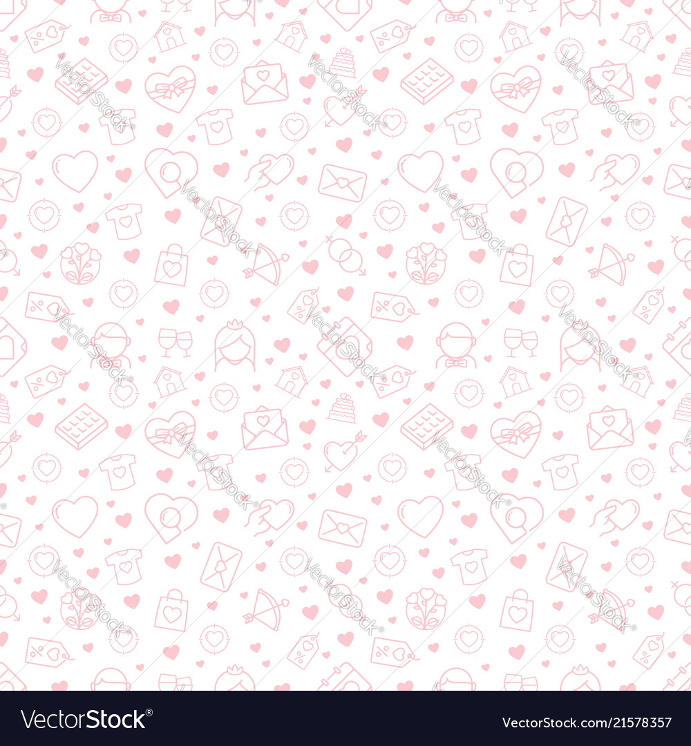 Seamless pattern with love and romance icons