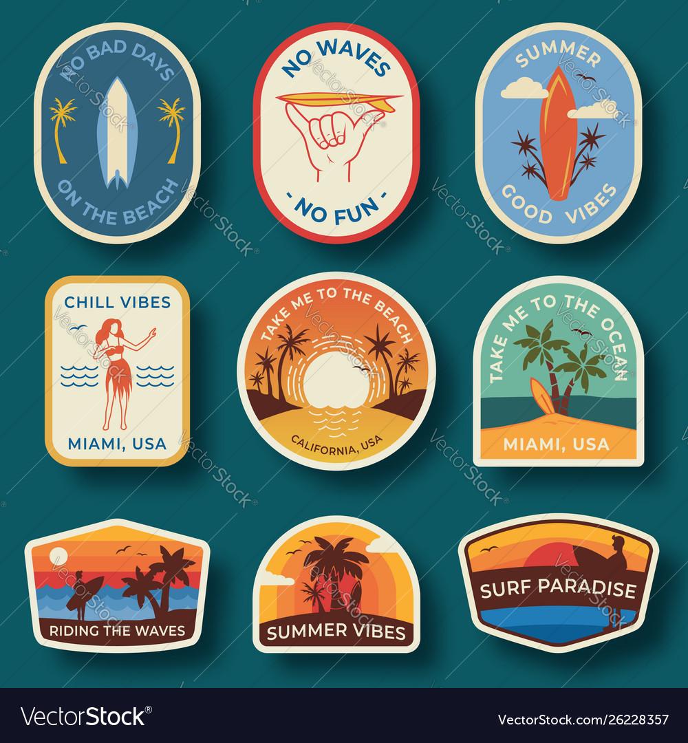 Set nine beach badges hand drawn palm trees
