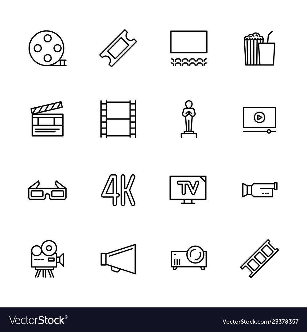 Simple set symbols cinema filming cinema and film
