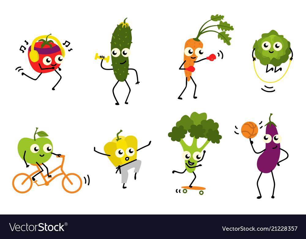 Sports vegetables set of various cute cartoon