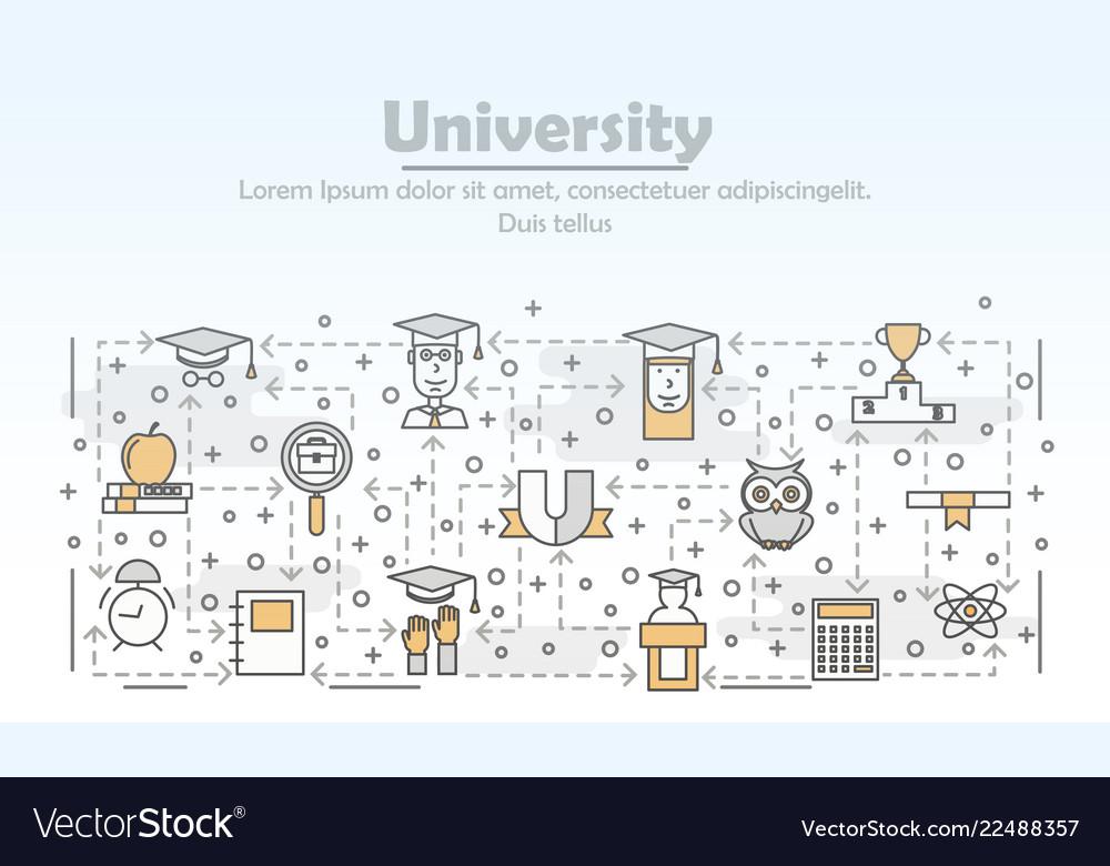 Thin line art university poster banner