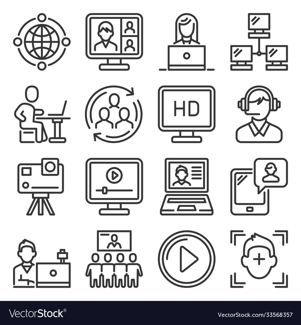 Video conference and online meeting icons set