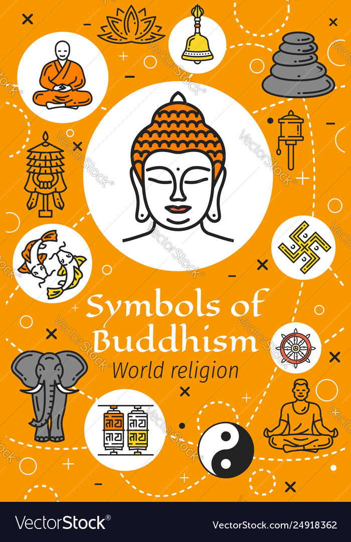 Buddha buddhism religion and yoga symbols