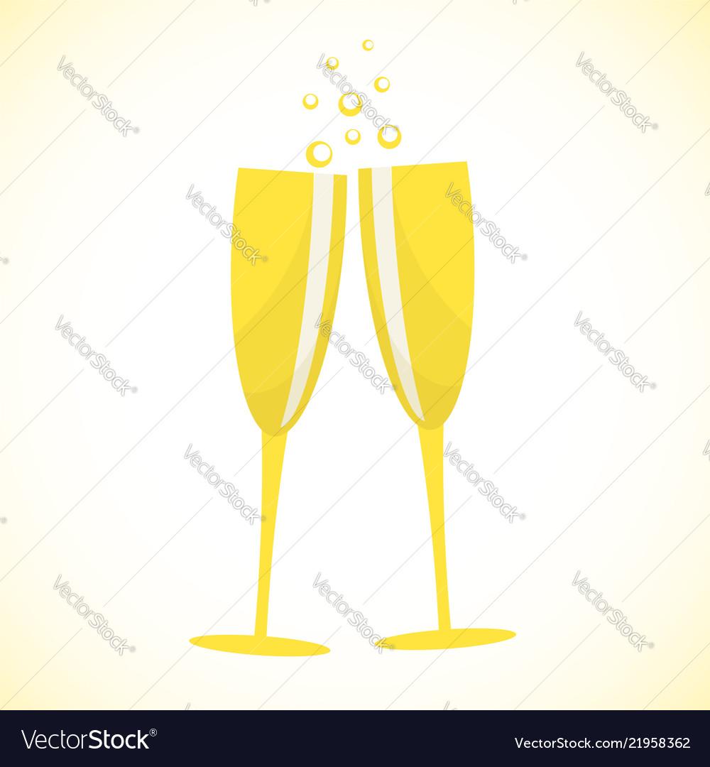 Champagne glasses art design stock