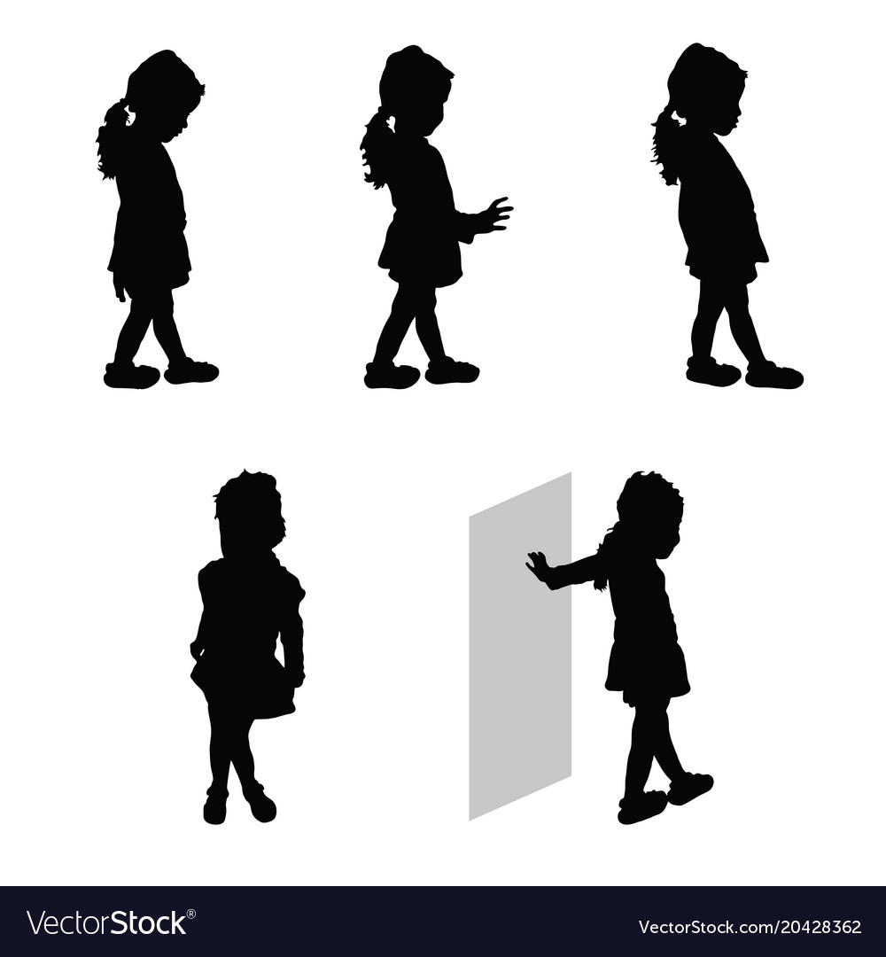 child silhouette happy set royalty free vector image rh vectorstock com child silhouette vector free download child ballerina silhouette vector