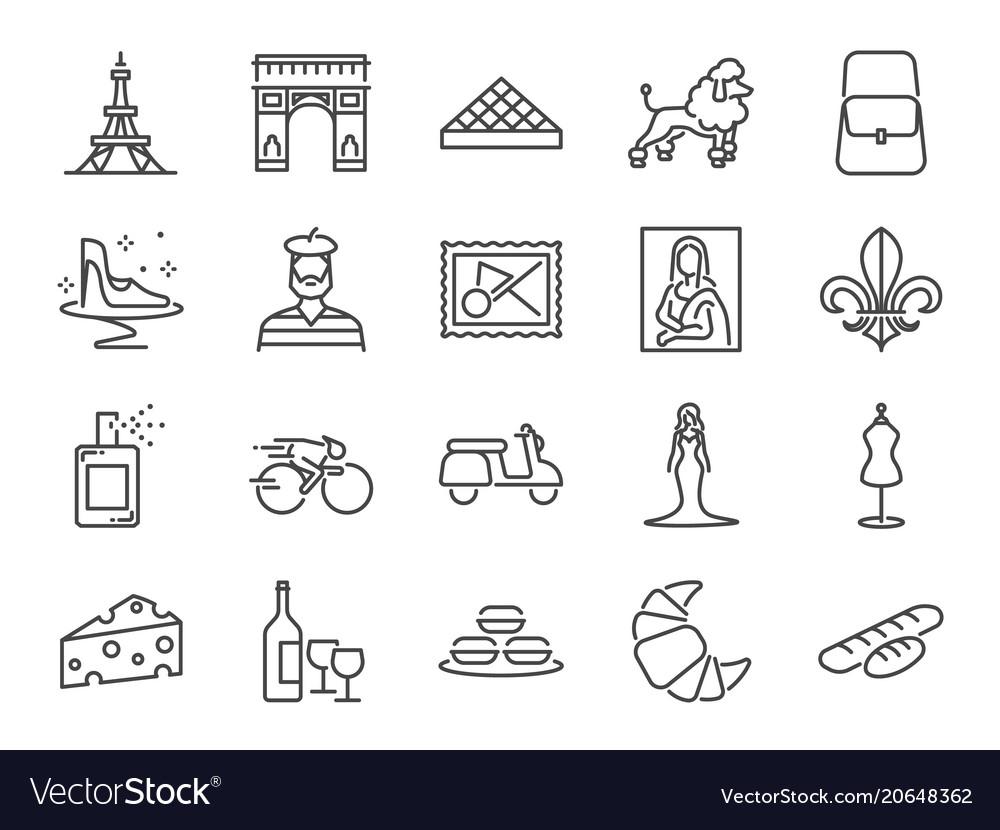 France travel icon set