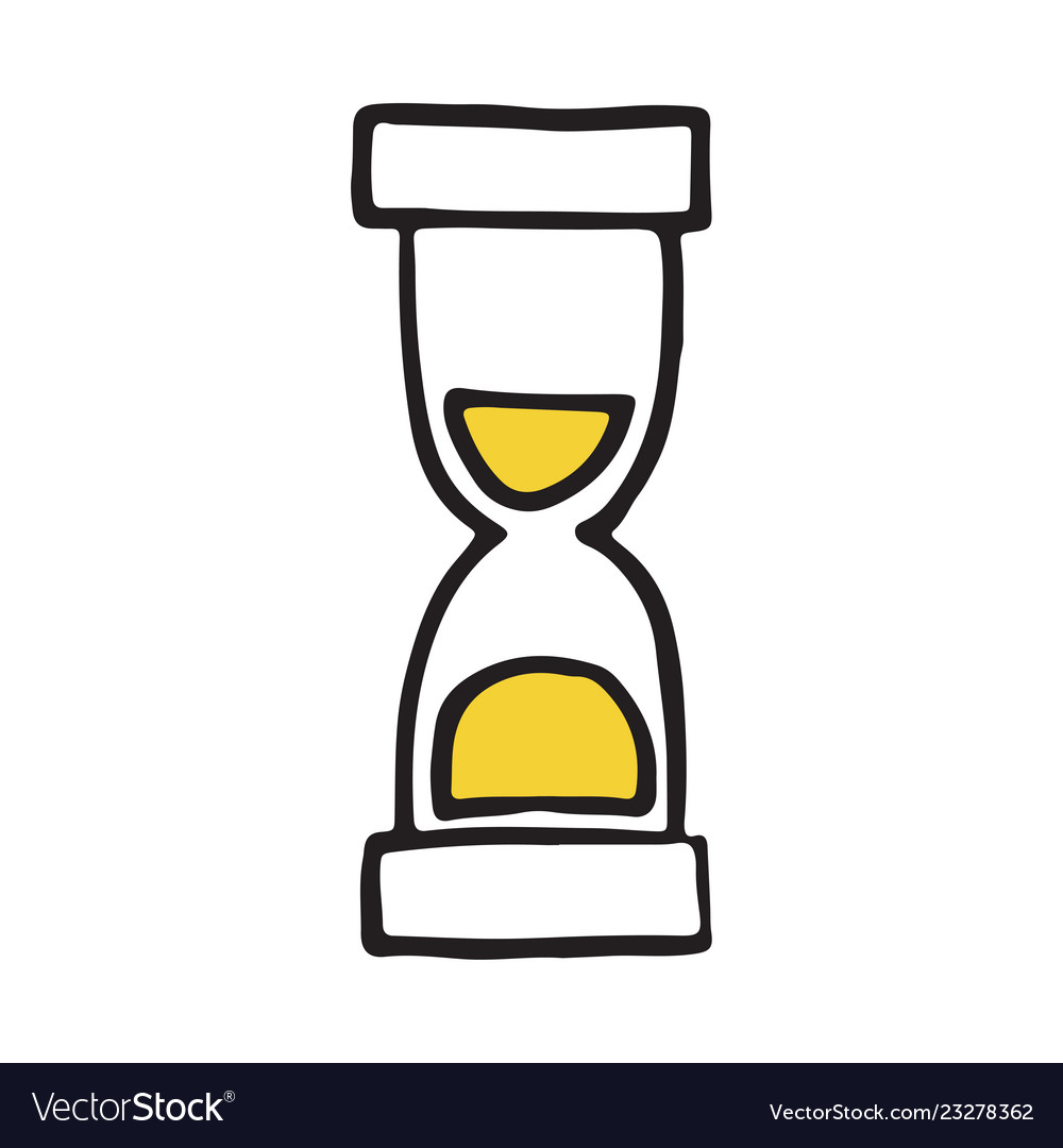 Hand drawn hourglass doodle icon